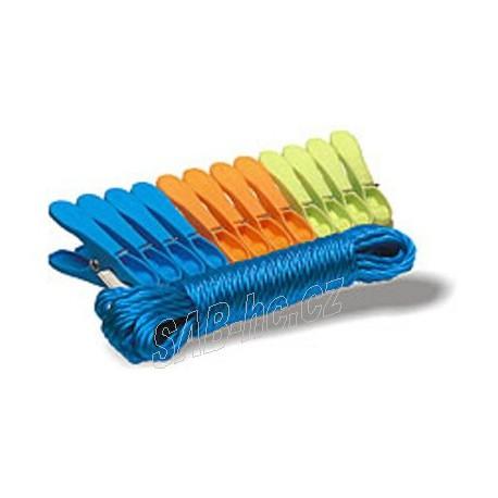 Prádelní šňůra pletená 20m, 2ks kolíčky JUMBO