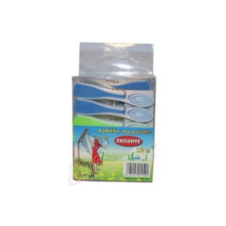 Kolíčky plastové 12ks Exclusive s gumou